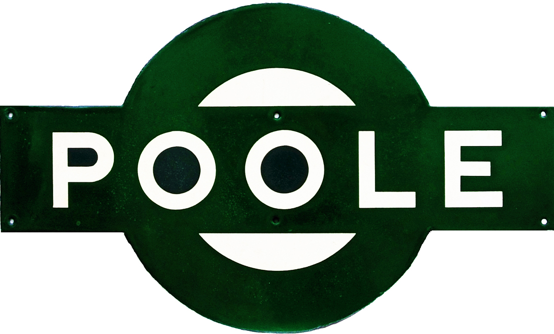 Southern Railway Enamel Target Sign POOLE. Ex LSWR