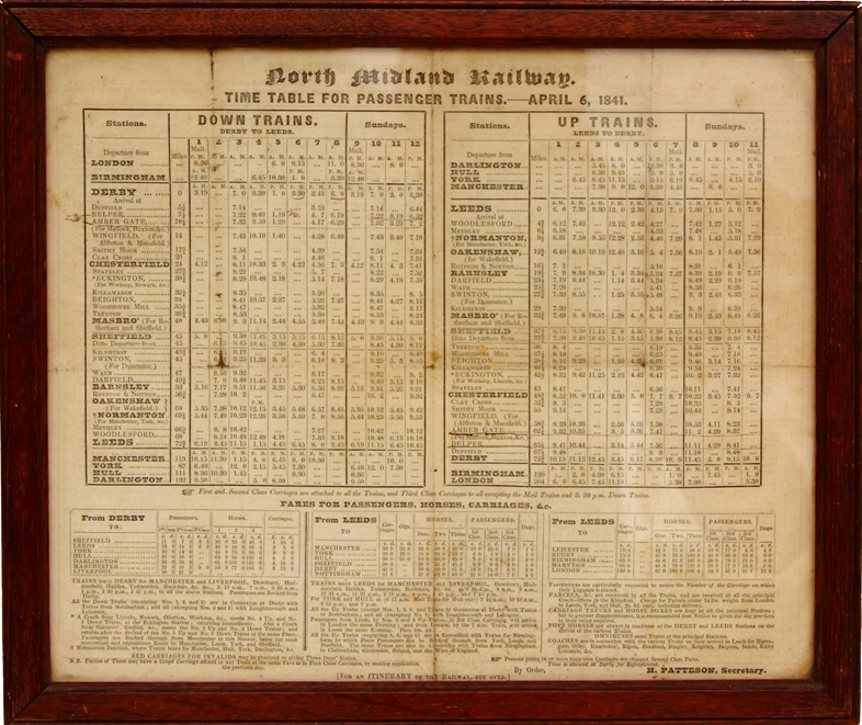 North Midland Railway Time Table For Passenger