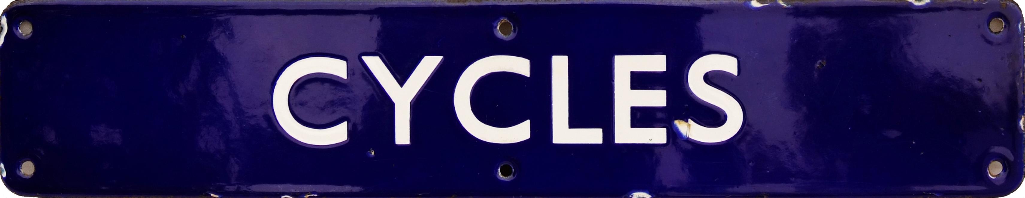 BR(E) Enamel Doorplate CYCLES. A Scarce,