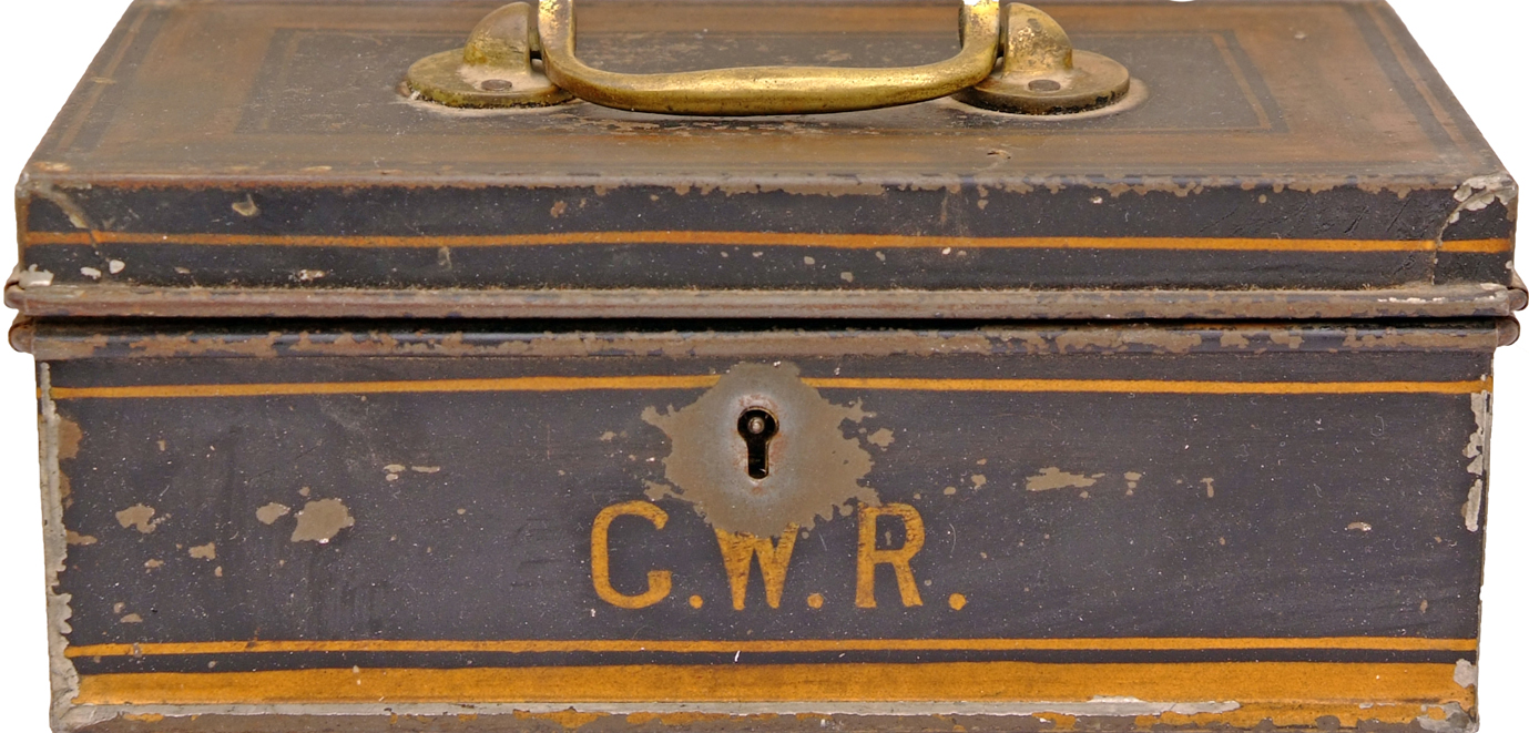 GWR Metal Cash Box With Brass Handle For Carrying.