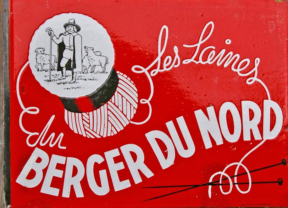 Enamel Advertising Sign, 'Berger Du Nord'. White