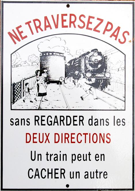 Enamel Advertising Sign, 'Ne Traversez Pas'. Black