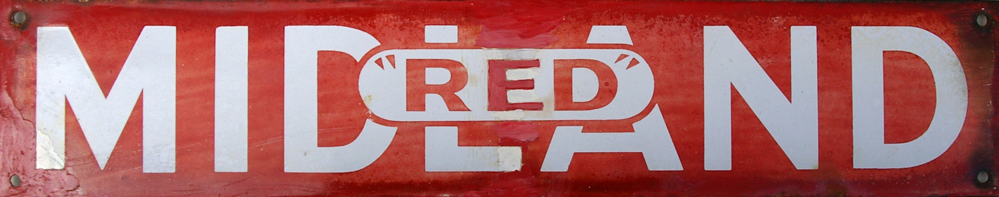 Enamel Poster Board Heading Sign, 'Midland Red'.