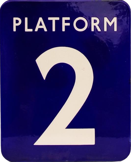 British Railways(E) Enamel Sign 'Platform 2', F/F.