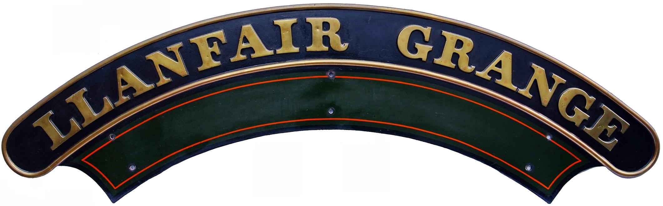 Nameplate LLANFAIR GRANGE. Ex GWR 4-6-0 'Grange'