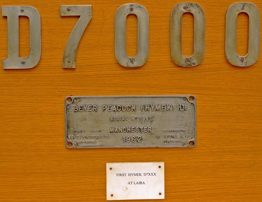 Worksplate, Beyer Peacock (Hymek) Ltd. Serial
