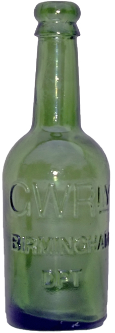 GWR Green Glass Beer Bottle Embossed 'GWRly