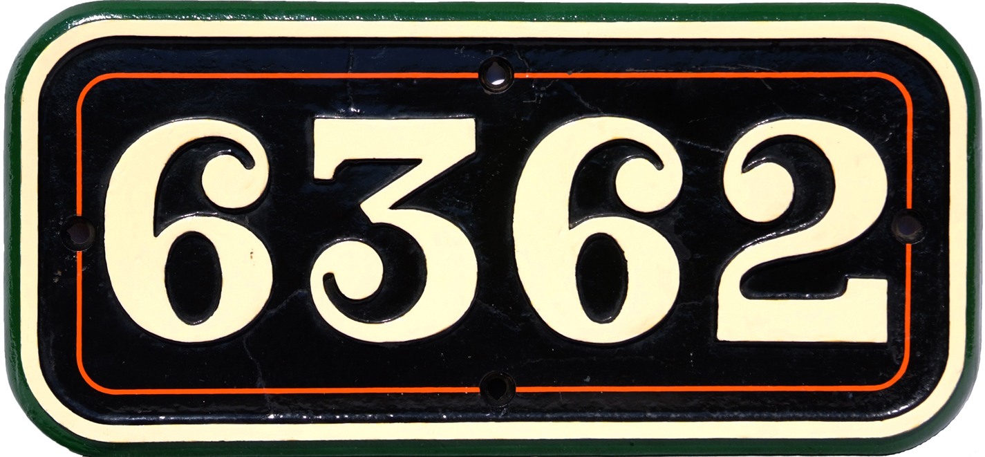 Cabside Numberplate 6362, Cast Iron Construction,