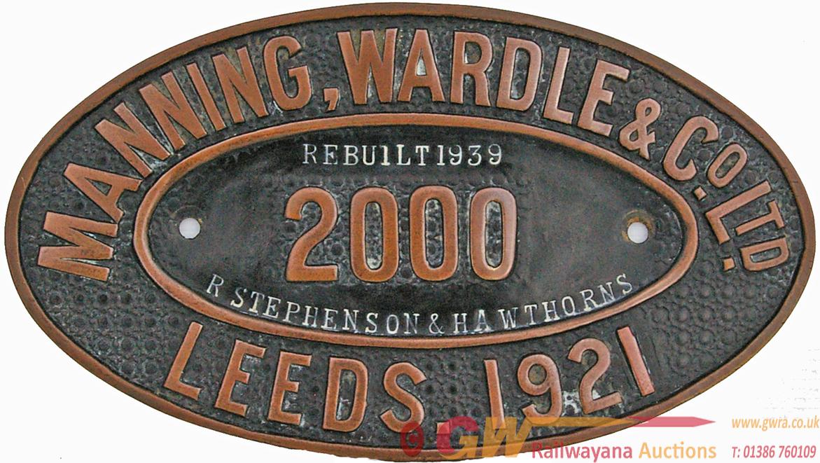 Worksplate Manning Wardle & Co Ltd., No 2000 Leeds