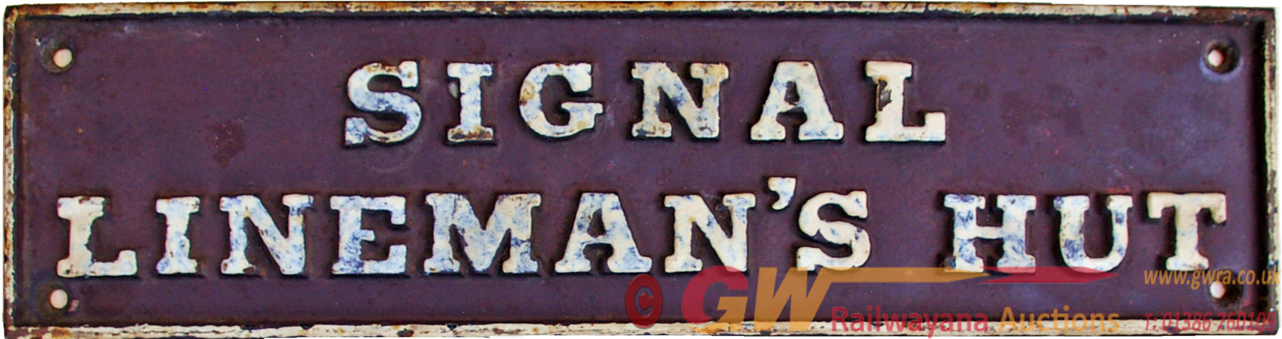 GWR C/I Doorplate SIGNAL LINEMAN'S HUT. Excellent,