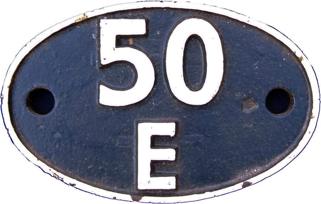 Shedplate 50e, Scarborough Until April 1963.Face