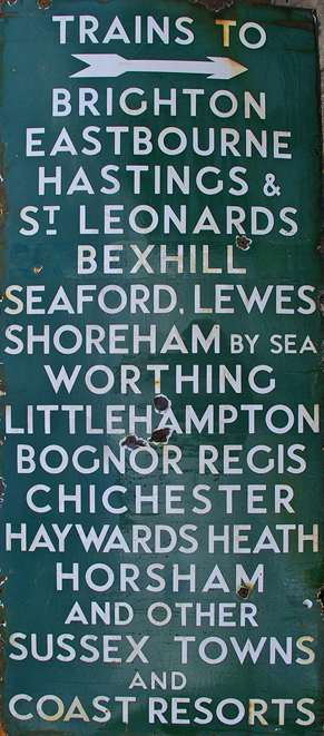 Southern Railway Enamel Platform Sign Reads