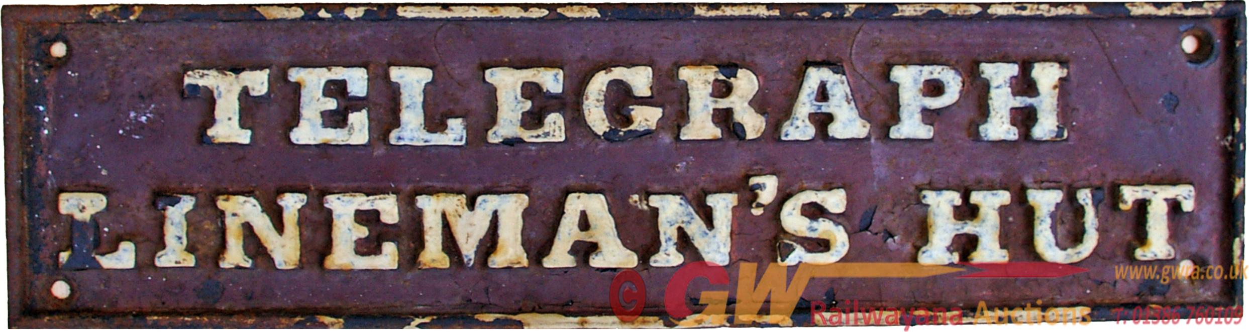 GWR C/I Doorplate TELEGRAPH LINEMAN'S HUT.