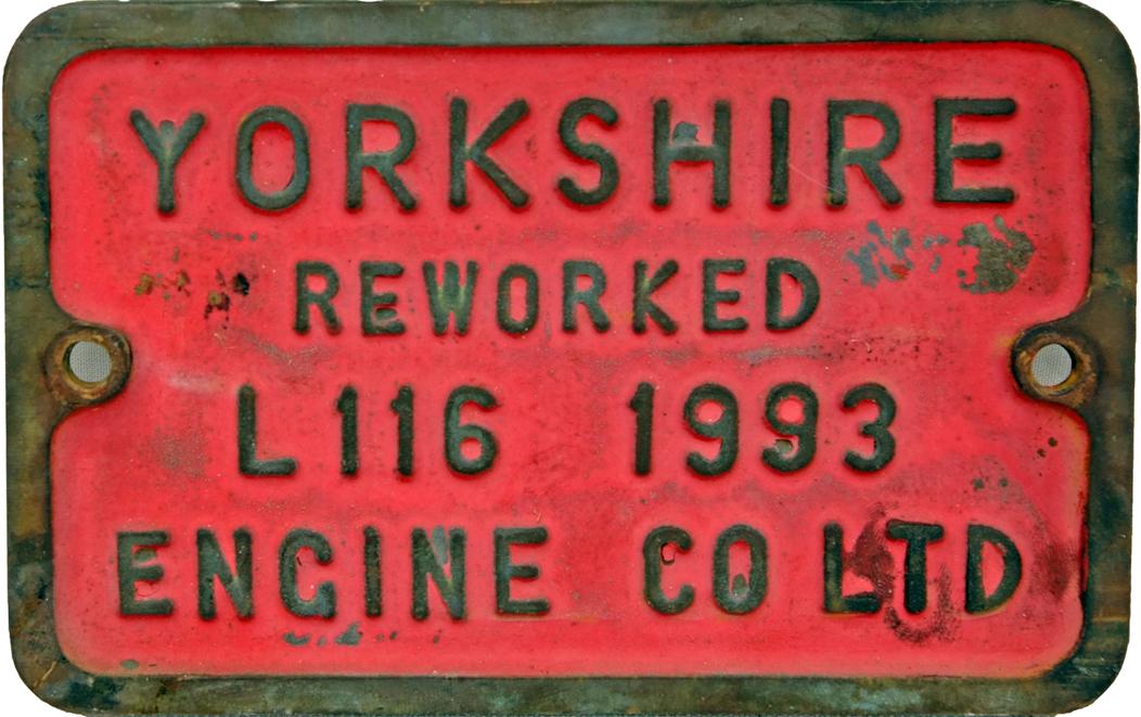 Brass Locomotive Plate 'Yorkshire Engine Co.,