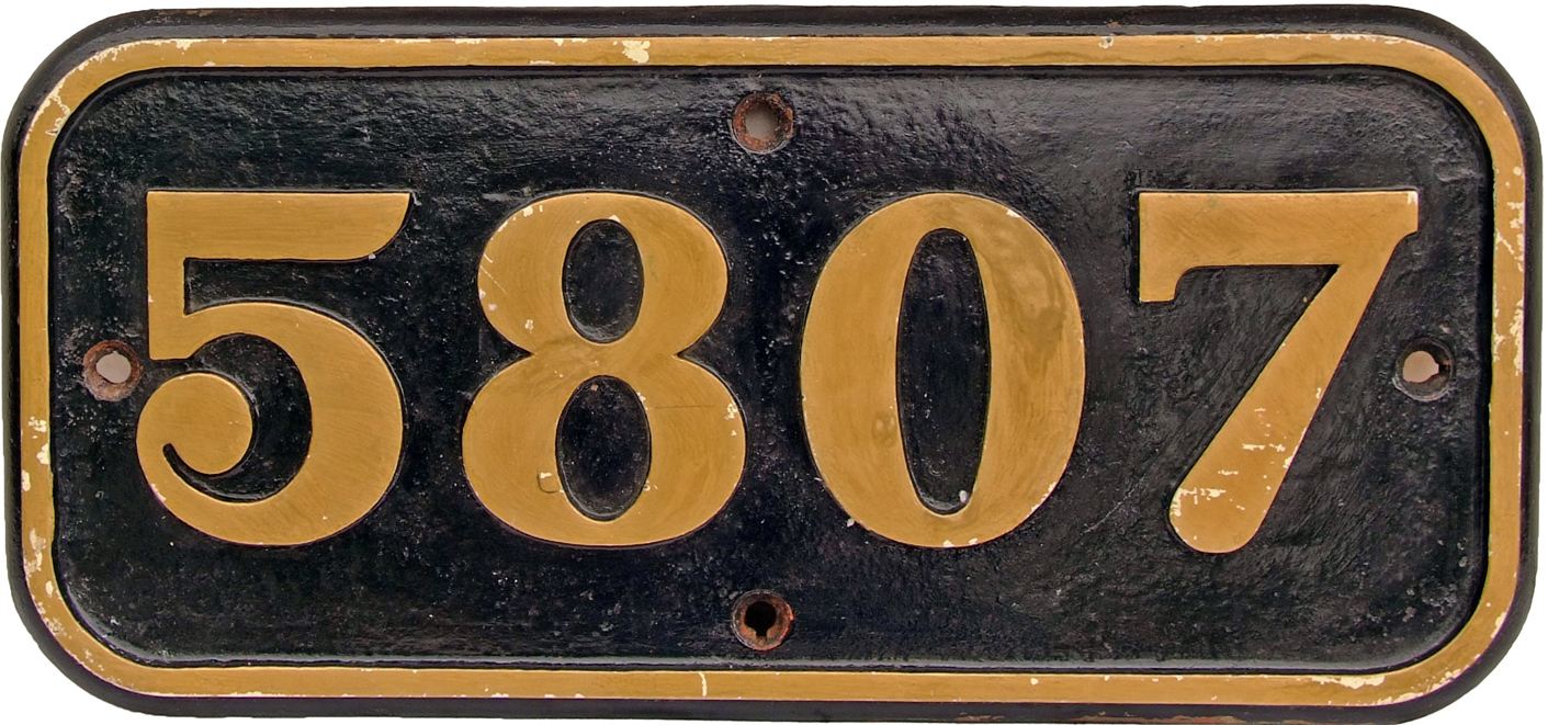 GWR Cabside Numberplate 5807. C/I Construction, Ex