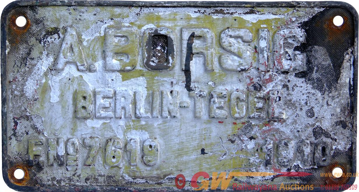 Worksplate, Rectangular Brass,  A Borsig Berlin