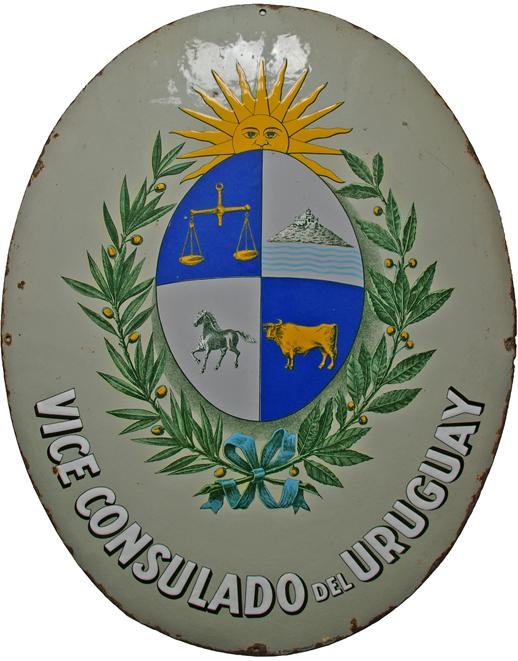 Large, Convex Oval Enamel Sign 'Vice Consulado Del