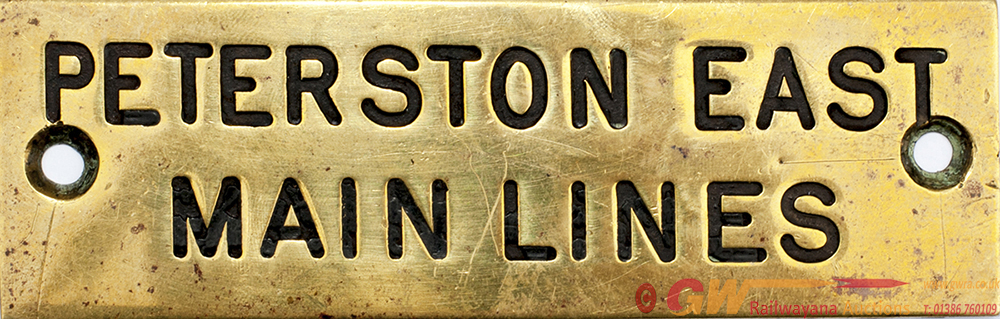 GWR Brass Shelf Plate PETERSTON EAST MAIN LINES,