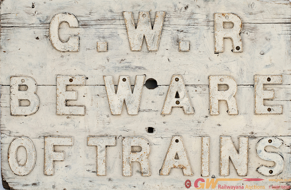 GWR Wooden Sign With Cast Iron Letters G.W.R