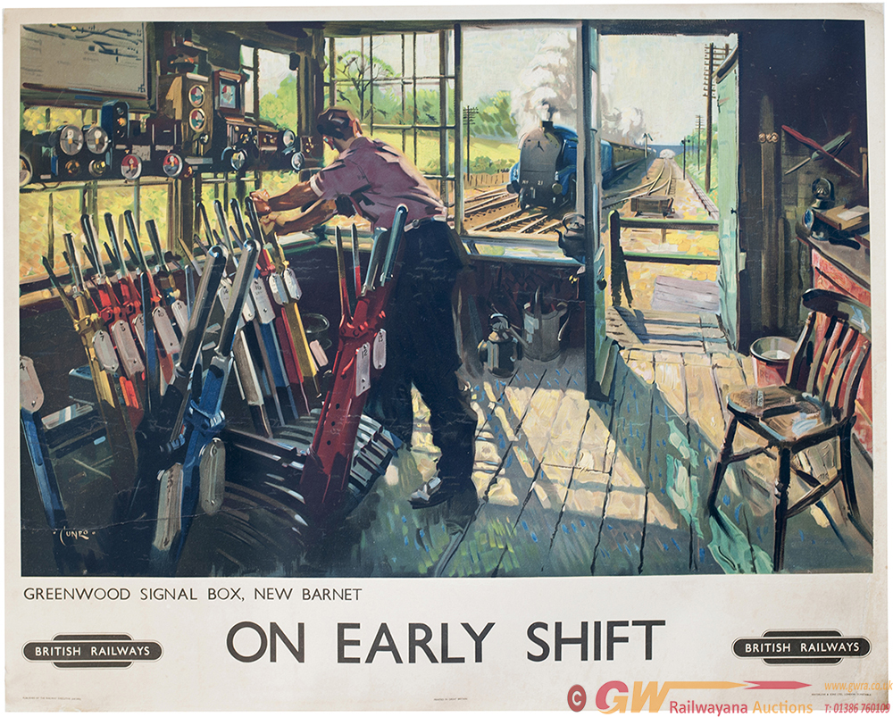 Poster BR ON EARLY SHIFT GREENWOOD SIGNAL BOX NEW