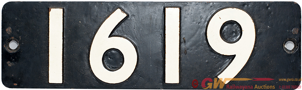 Smokebox Numberplate 1619 Ex BR(W) 0-6-0 PT, Built