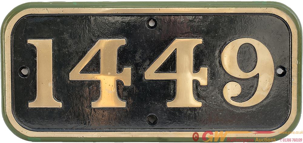 GWR Brass Cabside 1449 Ex GWR COLLETT 0-4-2 T
