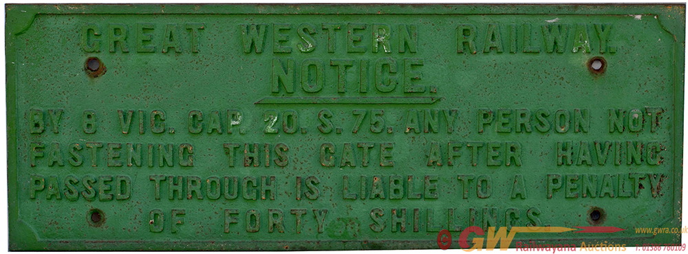 GWR Cast Iron Fully Titled Small TRESPASS Sign,
