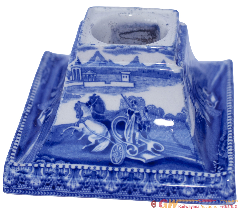 LMS Hotels China Inkwell In A Blue Glaze Pattern,