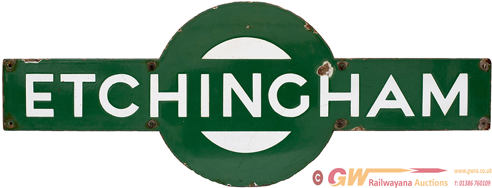Southern Railway Enamel Target ETCHINGHAM From The