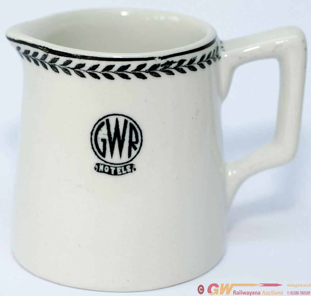 GWR Black Leaf Pattern China Milk Jug, Base Marked