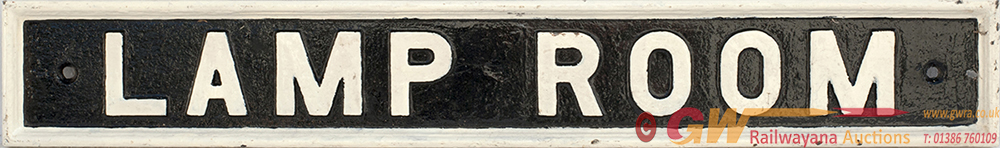 GWR Pre Grouping Cast Iron Doorplate LAMP ROOM, In