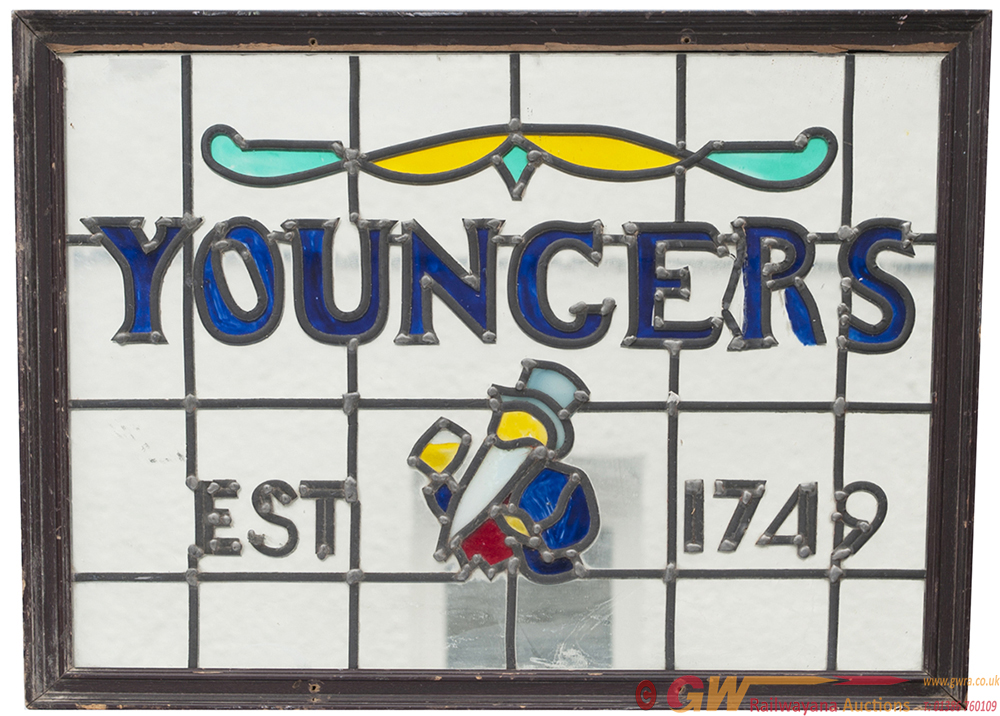 Advertising Brewery Sign YOUNGERS EST 1749, Leaded