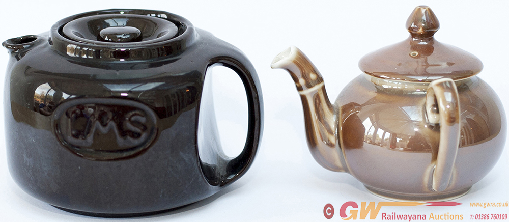 LMS Teapots, A Pair: One Is 1920's Dark Brown With