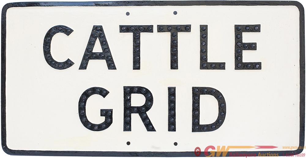Cast Aluminium Road Sign CATTLE GRID. Face