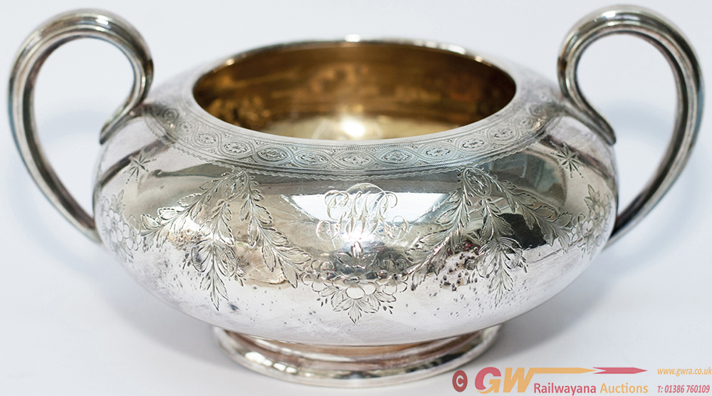 GWR Large Silverplate Two Handled Sugar Bowl With