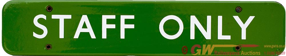 BR(S) FF Light Green Enamel Doorplate STAFF ONLY.