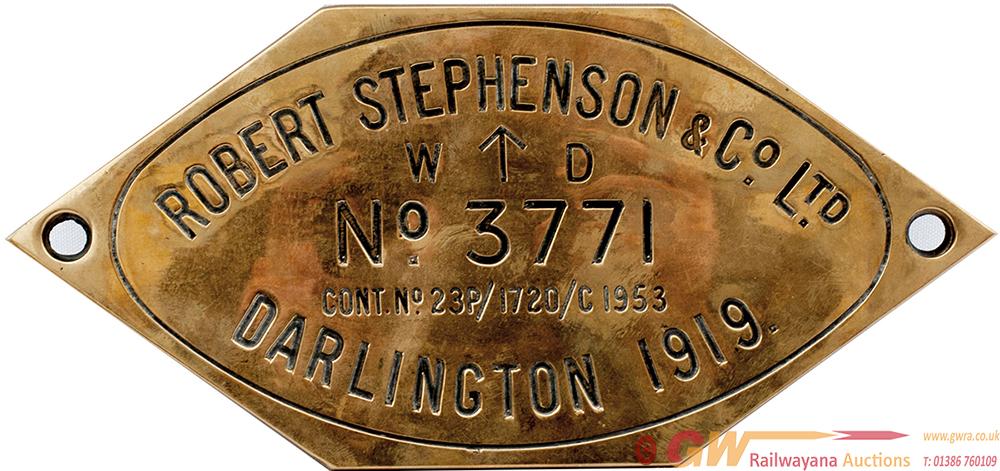 Worksplate Engraved Brass ROBERT STEPHENSON & CO