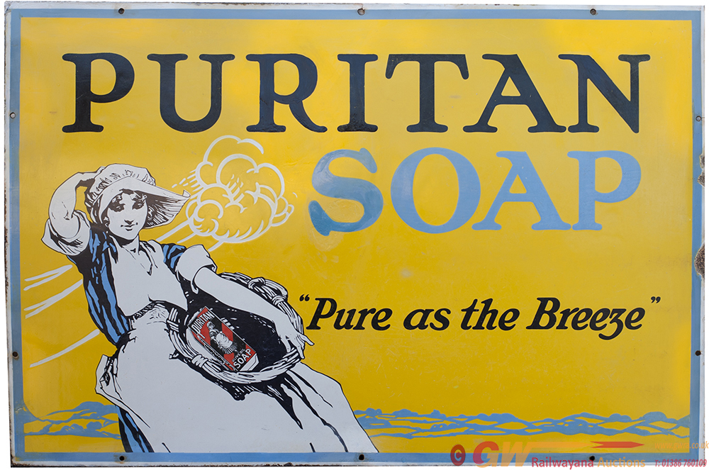 Enamel Advertising Pictorial Sign PURITAN SOAP