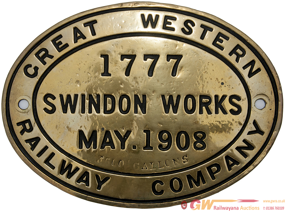 GWR Brass Oval Tenderplate 1777 SWINDON WORKS MAY