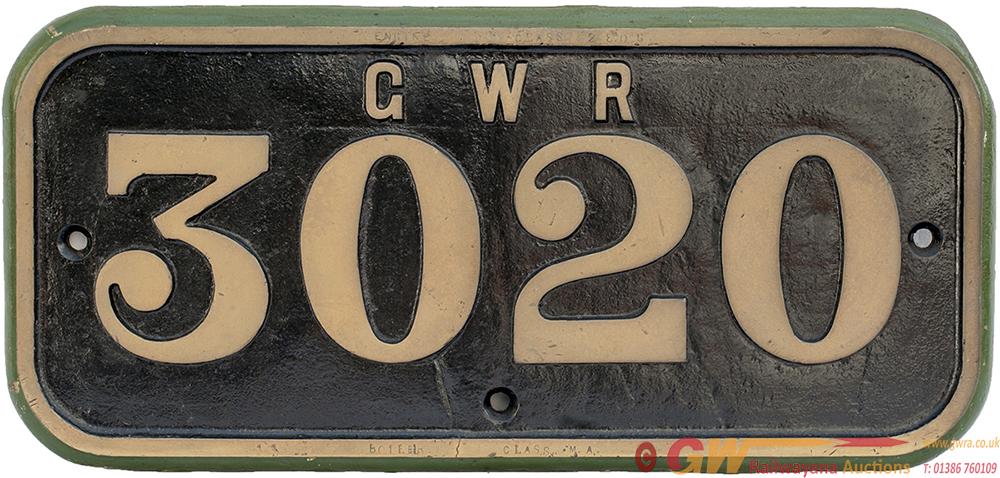 GWR Brass Cabside GWR 3020 Ex Robinson Designed