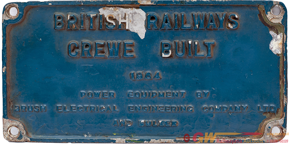 Diesel Worksplate BRITISH RAILWAYS CREWE BUILT