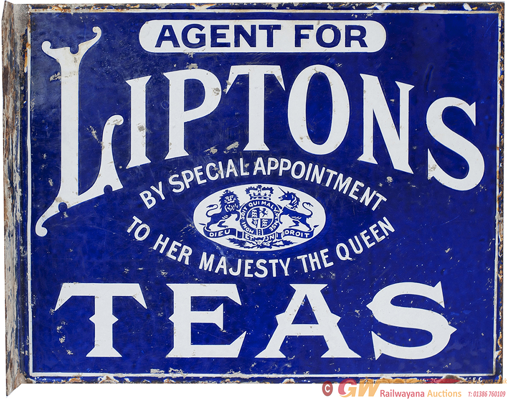Advertising Enamel Sign AGENT FOR LIPTONS TEAS BY