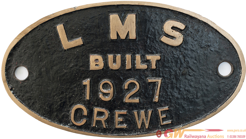 Worksplate Oval Brass LMS BUILT 1927 CREWE.