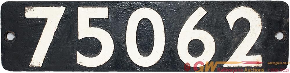 Smokebox Numberplate 75062 Ex BR Standard Class 4