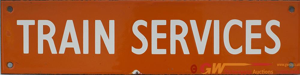 BR(NE) Enamel Poster Board Heading TRAIN SERVICES