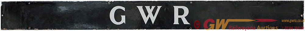 GWR Enamel Poster Board Heading, White On Black
