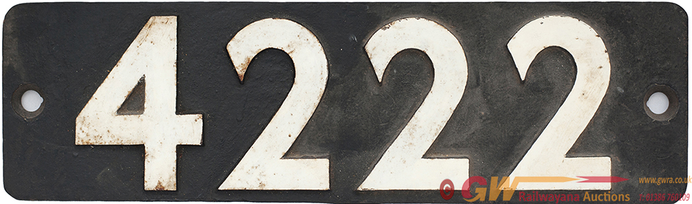 Smokebox Numberplate 4222 Ex GWR 2-8-0t Built At