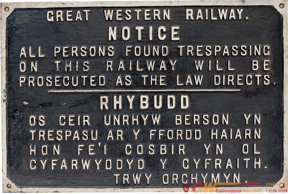 GWR Cast Iron Dual Language TRESPASS Sign.