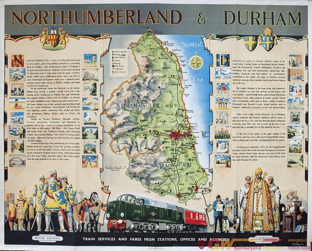 Poster BR NORTHUMBERLAND & DURHAM By E.H.SPENCER