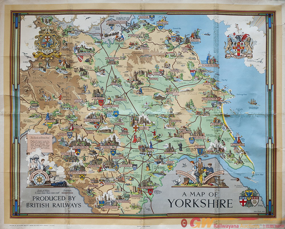 Poster BR A MAP OF YORKSHIRE By ESTRA CLARK Circa